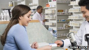 Woman in pharmacy