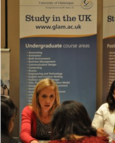 Indian students discuss opportunities at British universities at the fair