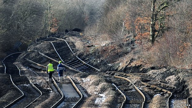 Landslip damages railway tracks in South Yorkshire