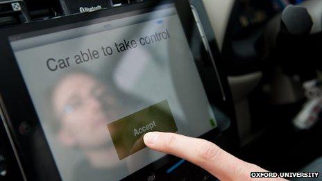 An iPad display in the self-driving car
