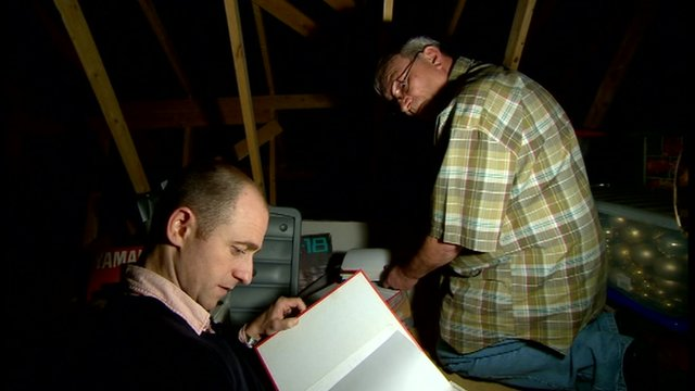 Mark Daly and Keith Hyatt looking through Keith's letters