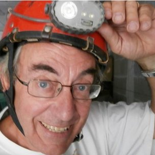 Jean-Michel Lemaire wearing a helmet with a light on it
