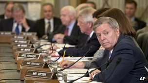 Senator Lindsey Graham at a meeting of the Senate Armed Services Committee in Washington, DC 12 February 2013