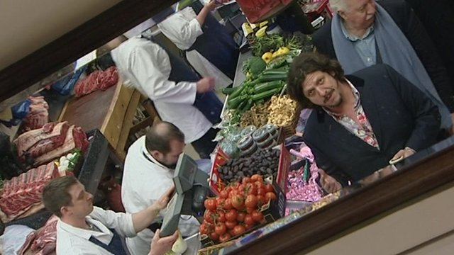 Jay Rayner in food shop