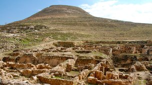 The man-made mountain at Herodium, 12km from Jerusalem, with ruins in the foreground