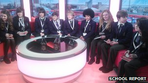 School Reporters in the Breakfast TV studio