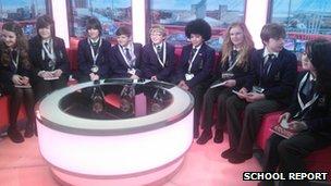 School Reporters in the Breakfast TV studio