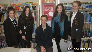 Fullbrook School's School Reporters (left to right): Laurel (Year 11), Zoe (Year 11), Tom (Year 13), Abby (Year 9) and Daisy (Year 9)
