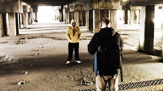 Gavin Rees undertakes his media duties in Atlantic City