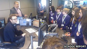 Denton Community College School Reporters in the BBC Radio Manchester studios