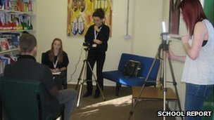 Katie and Lizzy interview Tom Vince from Mustard TV, while sixth form mentor Eleanor films their work