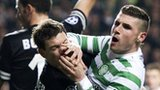 Celtic striker Gary Hooper and Juventus defenders in the Champions League