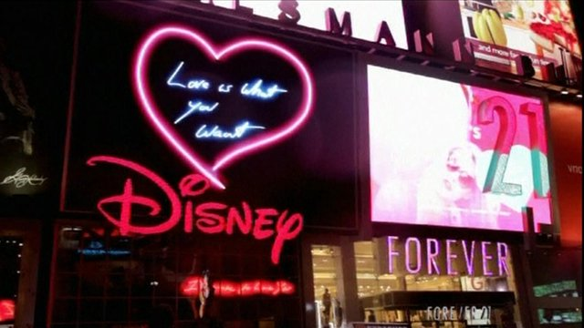 One of Tracey Emin's neon messages in Times Square
