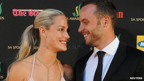 Oscar Pistorius and his girlfriend, model Reeva Steenkamp, at an awards ceremony in Johannesburg on 4 November 2012