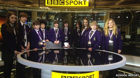 Denton Community College students in the BBC Sport studio