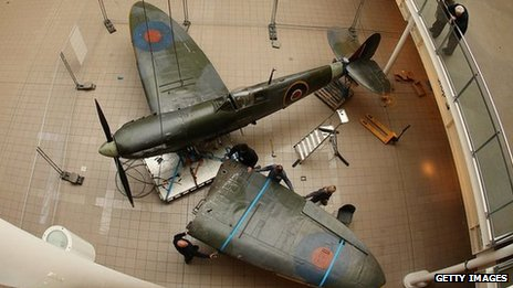 Spitfire being dismantled at the Imperial War Museum in London