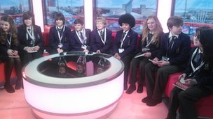 Denton School Reporters in the BBC Breakfast studio