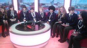 Denton School Reporters in the BBC Breakfast studio