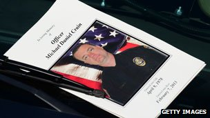 Programme for slain officer Michael Crain at his memorial service 