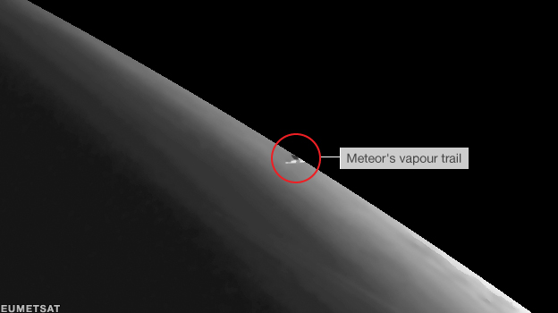 Eumetstat satellite image of meteor vapour trail