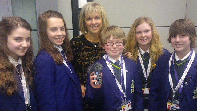 BBC Radio Manchester presenter Becky Want with Denton Community College School Reporters