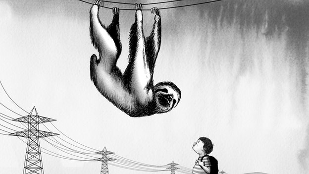 Cartoon of ape hanging from overhead wires