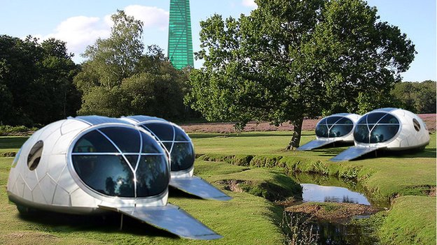 Futuristic picture of transport pods in field