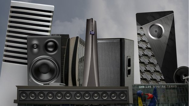 Cityscape picture showing audio equipment instead of buildings