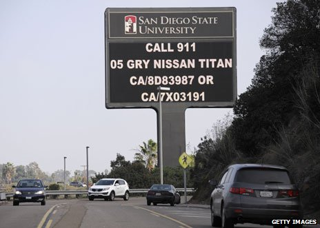 Sign on Interstate 8 with information about Dorner&#039;s vehicle