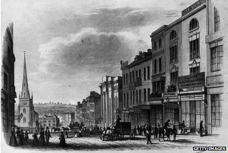 Birmingham city centre in 1840