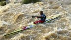 Canoeist Thulani Mbanjwa in South Africa participating in the Dusi Canoe Marathon, Pietermaritzburg, South Africa - Thursday 14 February 2013