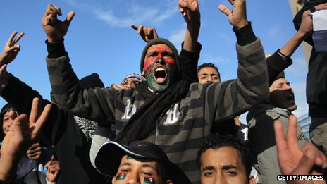 Anti-Gaddafi demonstrators in Benghazi in February 2011