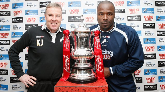 Millwall manager Kenny Jackett and Danny Shittu