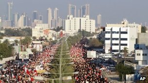 Bahraini anti-government protesters wave national flags and placards during a pro-democracy march in Bahrain, 15 February 2013