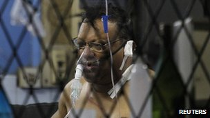 Faraz Shaukatally receives treatment for his injuries at Kalubowila hospital in Colombo, 16 February 2013