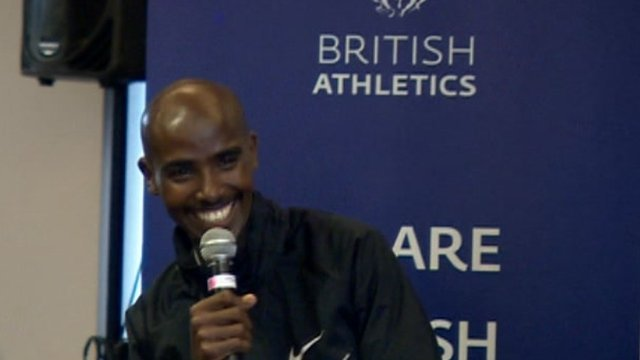 Mo Farah taking questions from schoolchildren in Birmingham