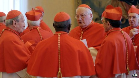 Cardinals at a Vatican consistory (11 Feb 2013)