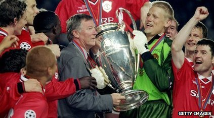 Sir alex Ferguson with the European Cup
