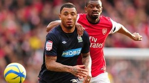 Arsenal's Vassiriki Diaby (right) and Blackburn Rovers' Colin Kazim-Richards