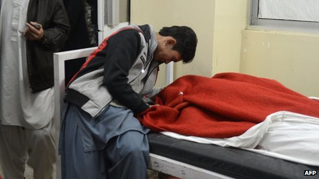 Mourner at a hospital in Quetta on 16/2/13