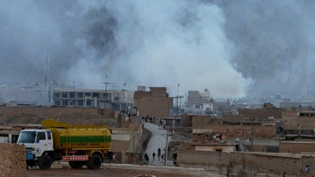 Smoke rises following a bomb explosion in Quetta, Pakistan