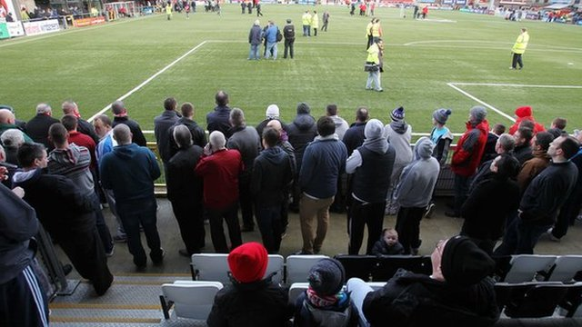Fans inside Seaview before the match was called off 