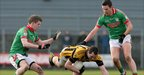 Crossmaglen&#039;s David McKenna tries to work his way through the St Brigid&#039;s defence