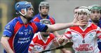 Richard Murray of St Thomas in action against Loughgiel&#039;s Martin Scullion during the hurling semi-final at Clones
