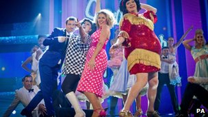 Dean Gaffney (left), Natalie Cassidy, Claire Sweeney and Ricky Groves performing on Let's Dance for Comic Relief