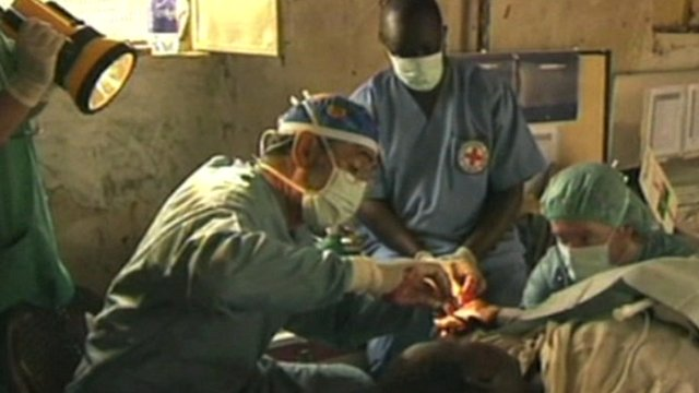 Red Cross medics operating
