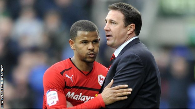 Fraizer Campbell and Cardiff boss Malky Mackay