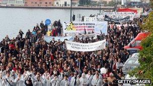 Anti-gold mine protesters in Thessaloniki (24 November 2012)