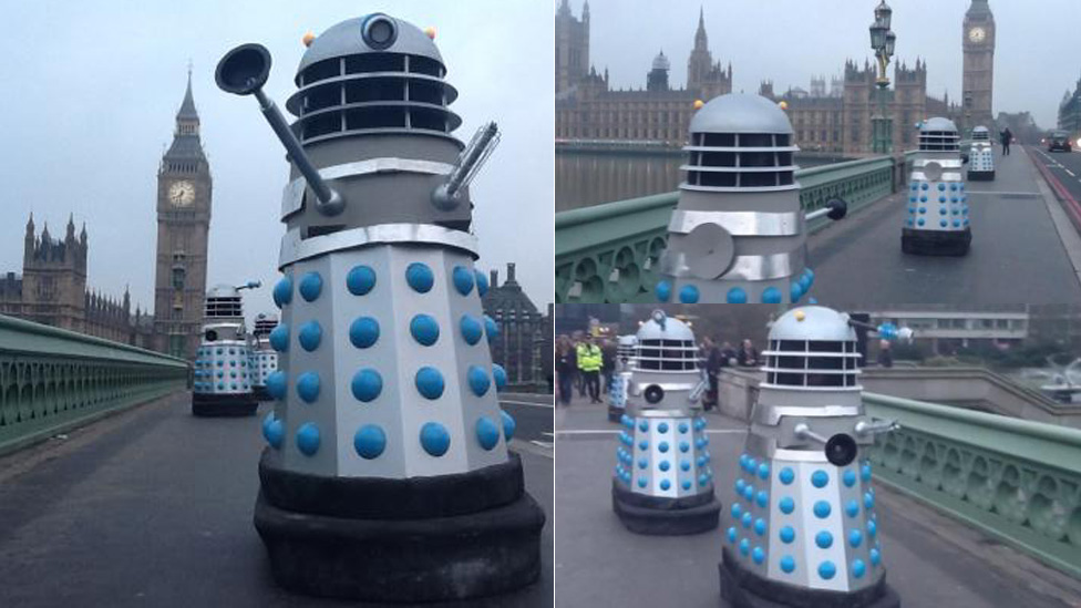 Daleks crossing Westminster Bridge