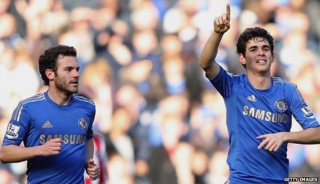 Oscar of Chelsea celebrates scoring a goal